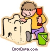 Vector Clipart graphic  of a little boy building a sand