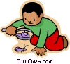 little boy with magnifying glass and bug Vector Clipart picture