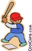 Vector Clip Art graphic  of a Little boy with baseball bat