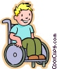 Little boy in a wheelchair Vector Clipart graphic