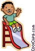 boy on slide Vector Clipart illustration
