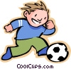 Vector Clipart picture  of a Little boy with a soccer ball