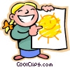 Little girl with a happy sun drawing Vector Clipart graphic