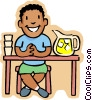 little boy selling lemonade at his stand Vector Clipart illustration