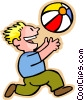 Vector Clip Art image  of a little boy with a beach ball