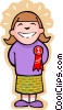 Vector Clipart illustration  of a little girl with an award