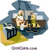 Commercial fishermen packaging catch Vector Clipart graphic