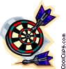 Vector Clipart graphic  of a Darts in dartboard