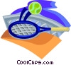 tennis net with racquet on ball Vector Clipart graphic