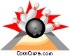 Bowling ball with pins Vector Clipart illustration