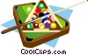Billiard table with balls and cue Vector Clipart image