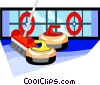 Vector Clipart graphic  of a curling rocks and broom