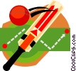 Vector Clip Art graphic  of a cricket paddle with ball