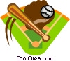 baseball diamond with bat, ball and glove Vector Clip Art graphic