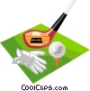 Vector Clipart image  of a Golf club with ball and glove