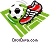 Vector Clipart graphic  of a Soccer ball and cleat