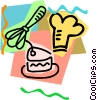 Vector Clip Art graphic  of a bakers hat with cake