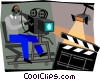 Vector Clip Art image  of a camera man filming movie