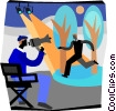 movie director instructing actor Vector Clip Art picture