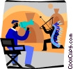 movie director giving instructions Vector Clip Art graphic