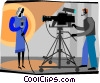 Vector Clipart picture  of a news women with camera man