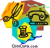sewing machine, scissors, and thread Vector Clip Art picture