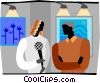 news women conducting an interview Vector Clipart graphic