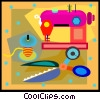 Vector Clip Art graphic  of a sewing machine thread and