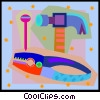 Vector Clip Art graphic  of a pliers, hammer and nail
