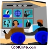 Vector Clipart image  of a broadcast studio