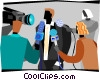 Vector Clip Art picture  of a celebrity being mobbed by