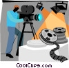Vector Clip Art graphic  of a camera man filming movie