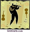 violin player on decorative background Vector Clipart picture