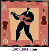 Vector Clipart graphic  of a man playing the guitar