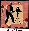 Vector Clipart graphic  of a camera man decorative