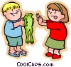 Boy with frog showing it to a little girl Vector Clipart picture
