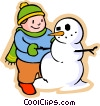 Vector Clipart graphic  of a little boy with a snowman