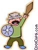 Vector Clipart graphic  of a sword fighter