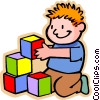 Vector Clip Art image  of a boy with colored building