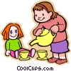 little girl with a doll having a tea party Vector Clipart illustration