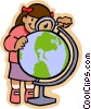 Vector Clip Art graphic  of a girl with a magnifying glass and a globe