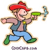 Vector Clip Art graphic  of a little boy with his western