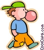 boy blowing a bubble with chewing gum Vector Clip Art graphic