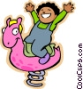 Little boy riding on a spring toy at the park Vector Clip Art picture
