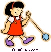 Vector Clip Art graphic  of a little girl with a yo-yo