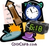 time digital clock, grandfather clock, alarm clock Vector Clipart picture