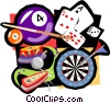 gamming pool, darts, cards, pinball Vector Clipart image