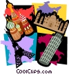 travel motif, Paris, Italy, Moscow Vector Clipart illustration