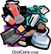baking motif, blender, toaster Vector Clip Art picture