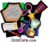award motif, medals, plaque, trophy Vector Clip Art graphic